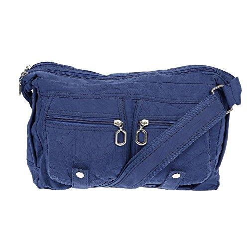 Christian Wippermann® - Bolso al hombro para mujer gris gris 30 x 20 x 12 cm azul