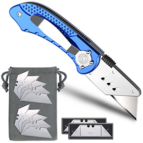 Box Cutter, Folding Utility Knife Pocket Knife with 11 Stainless Steel Blades, Lock-Back Design, Aluminum Handle and Belt Clip by Xultrashine (Blue)