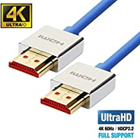 UPTab HDMI 2.0a Slim Cable 10 FT - UHD 4K@60Hz with HDR - Ultra High Speed 18Gbps - Gold Plated Connectors - Ethernet & Audio Return - Video 4K@60Hz 1080p 3D - Xbox PlayStation PC Apple TV 4K