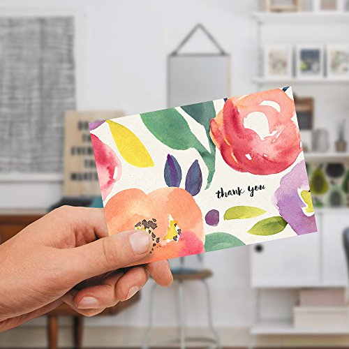 40-Floral-Thank-You-Cards-Blank-Inside-Yellow-Envelopes