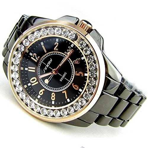 Bling Rhinestone Luxury Steel Quartz Watch Women Clock female Ladies Dress Wristwatch Gift (Coffee Gold)