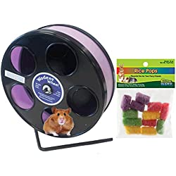 Hamster Wheel 8 inch Transoniq Wodent Wheel Junior, Black with Lavender Track and Ware Rice Pops-Small Animal Treat