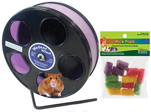 Hamster Wheel 8 inch Transoniq Wodent Wheel Junior, Black with Lavender Track and Ware Rice Pops-Small Animal Treat by CritterTyme (Image #5)