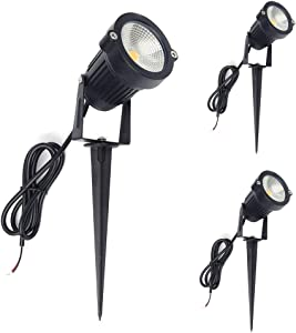 ALEDECO Outdoor Low Voltage Led Landscape Lights 12V 5W Waterproof Garden Pathway Tree Spotlight (Classic-3pack)