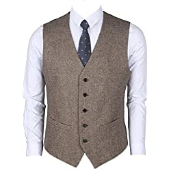 Ruth&Boaz 2Pockets 5Buttons Wool Herringbone / Tweed Business Suit Vest (XS, Tweed brown)
