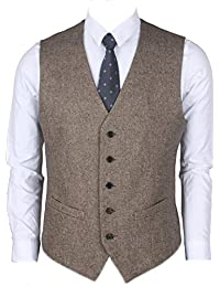 2Pockets 5Buttons Wool Tweed Business Suit Vest