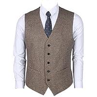 Ruth&Boaz 2Pockets 5Buttons Wool Herringbone Tweed Business Suit Vest