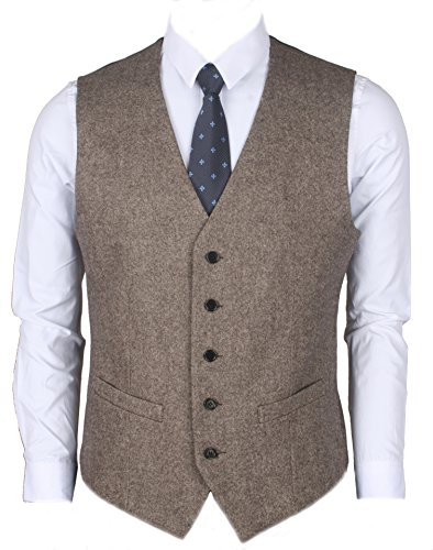 Ruth&Boaz 2Pockets 5Buttons Wool Tweed Business Suit Vest (L, Tweed Brown) Brown Wool Suit