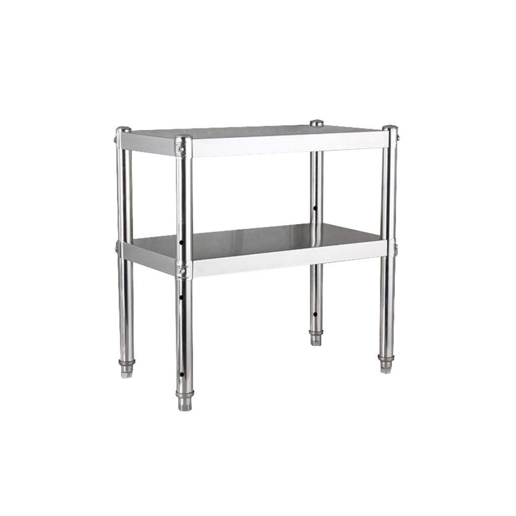 Kitchen Cabinet Microwave Rack Stainless Steel 2 Layer 3 Floors Floor-Mounted Kitchen Cooktop Double Shelf Storage Rack Cabinet Surface 0.45cm Thick (Size : 80 cm)
