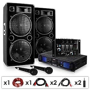 """DJ-20.1 - Set de audio PA amplificador - altavoces - mesa mezclas - 2x micrófono (2x altavoz 3 vías, 12"""", 500W RMS potencia 1000W max, amplificador 2 x 350W, entrada USB, SD, radio FM, 2x micro, mezclador sonido)"""