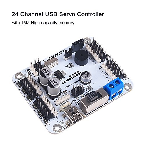 Price comparison product image Seamuing 24 Channel USB Servo Controller Servo Motor Driver with 16M High-Capacity Memory TTL Serial Port Bluetooth Module and Over-Current Protection for Arduino / STM32 / 51(Assembled)