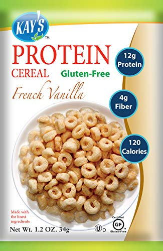 Kay's Naturals Protein Breakfast Cereal, French Vanilla, Gluten-Free, Low Fat, Diabetes Friendly All Natural Flavorings, 1.2 Ounce (Pack of 6)