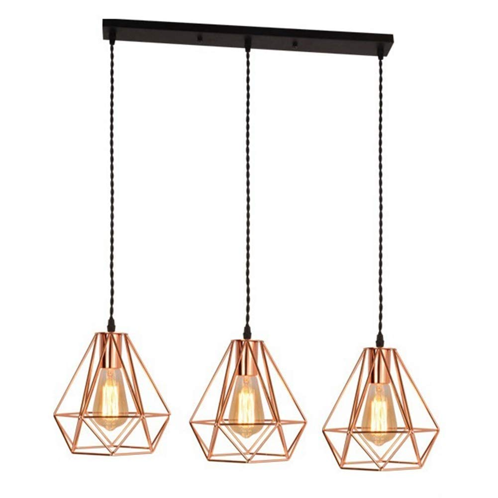 Creative Ceiling Lamps Modern Gold Pendant Light Diamond Shape Table Lamp for Kitchen Island Dining Table Living Room Bedroom Decor(Without Bulb)