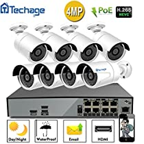 Techage 8CH H.265 NVR 4K POE CCTV Camera System, 8PCS 4.0MP HD Face-Recognized PoE IP Waterproof Camera, P2P 49ft Night Vision, Plug & Play Home Security Surveillance Kit, Without Hard Drive