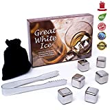 Great White Ice Whiskey Stones - Set of 6 Drink Chilling Stainless Steel Reusable Ice Cubes, 1 Storage Pouch And Tongs In Gift Box. Use These Whisky Rocks In Any Drink To Chill It Without Dilution. Lifetime Replacement Guarantee.