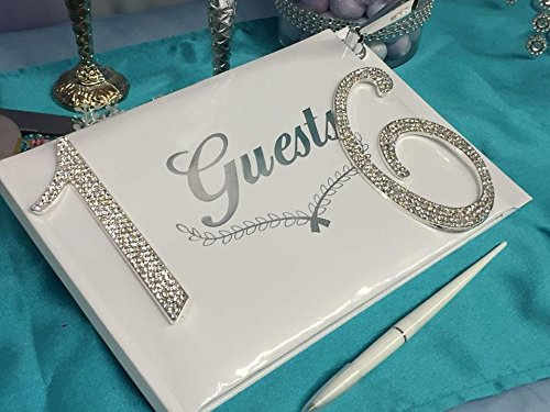 Sweet 16 Signature Guest Book with Silver Rhinestone Number 16 with Pen