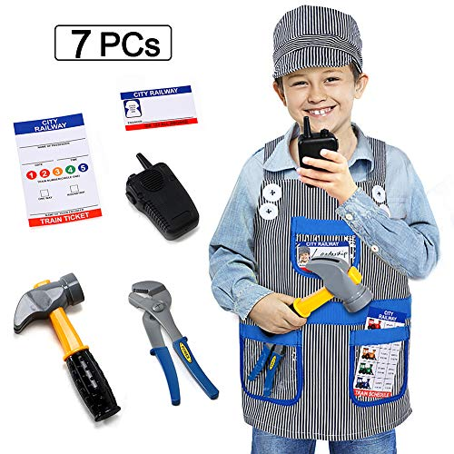 Train Engineer Outfit (Dissytoys Train Engineer Costume Kids Role Play Costume Dress Up Set for 2 3 4 5 6 Year Old Toddlers Boys Girls 7)