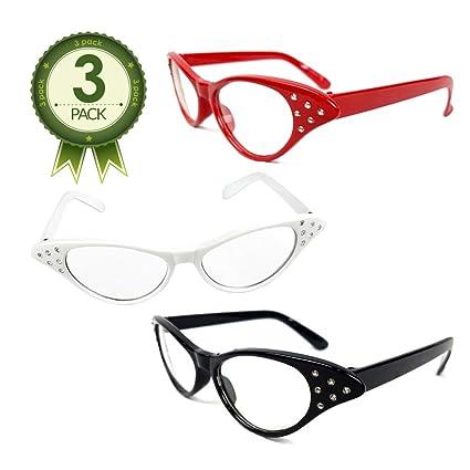 a487061f8ee10 Amazon.com  NorNovelties 50s Cat Eye Glasses - for Women Men Kids – Set of  3 Cat-Eye Glasses   Rhinestone Frames  Toys   Games