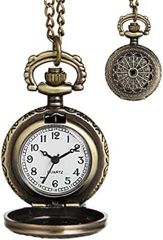 LYMFHCH Vintage Gold Pocket Watch Steel Mens Watch with Chain (Silver/Small)
