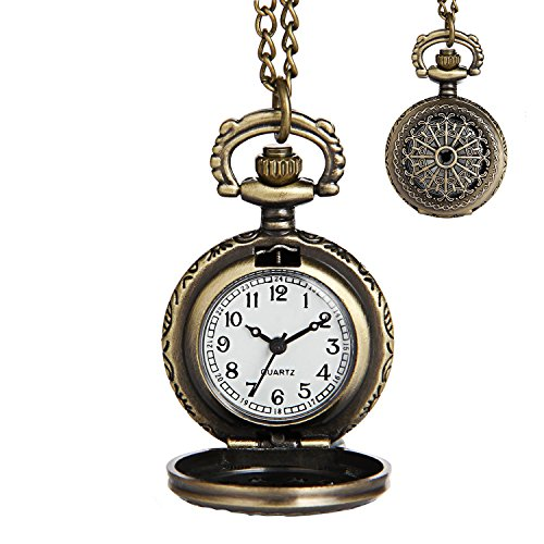 3 Hand Small Watch - LYMFHCH Classic Smooth and Vintage Roman Numerals Scale Quartz Pocket Watch with Chain for Mens Womens Watch