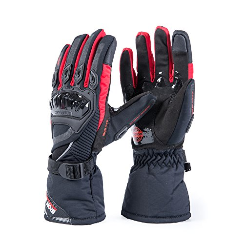 Motorcycle Gloves Winter Warm Touch Screen Waterproof Windproof Protective clothing (RED, L)