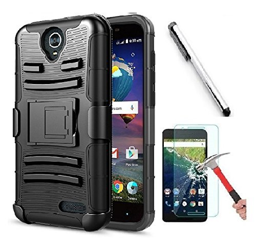 Luckiefind Compatible With ZTE Prestige 2 N9136/Maven 3 Z835/Overture 3/Prelude+ Z851/Prestige N9132/ZFive, Dual Layer Hybrid Side Kickstand Cover Case With Holster Clip. (Holster ()