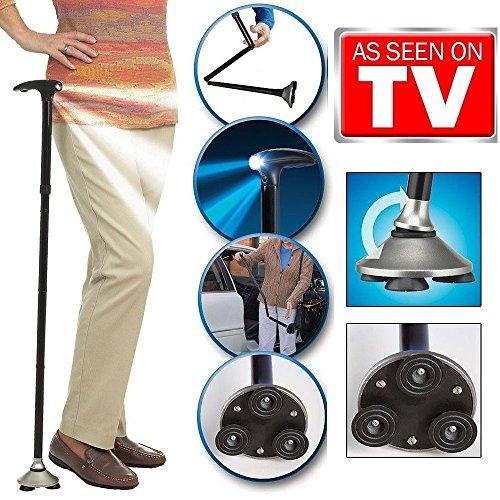 Trusty Cane LED Folding Walking Triple Head Pivot Base Adjustable As Seen On TV