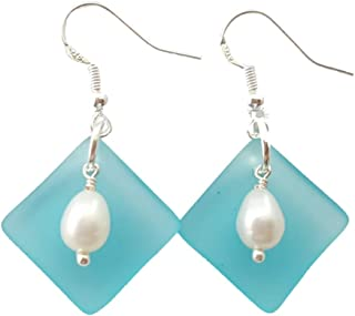 """product image for Handmade in Hawaii, Natural Rice pearls with Curved Turquoise Bay Blue sea glass earrings,""""December Birthstone"""", (Hawaii Gift Wrapped, Customizable Gift Message)"""