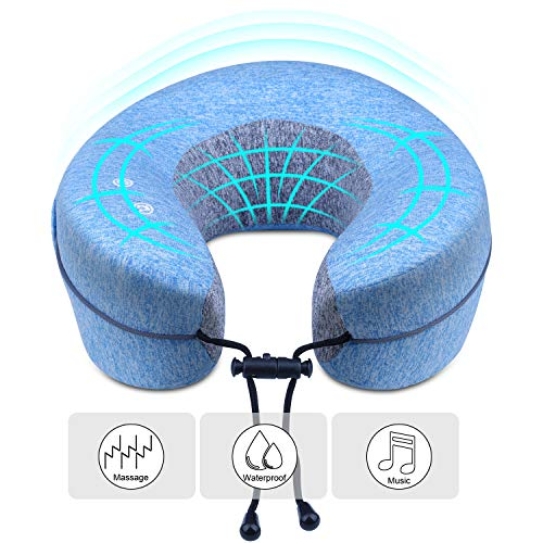 Massage Pillow with Music Function Travel Pillow U Shaped Waterproof Comfortable Music Neck Pillow for Sleeping,traveling Car, Airplane, Swimming,Spa,Camping