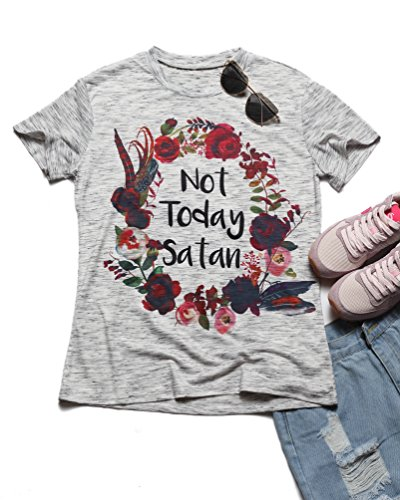 Erxvxp Fashion Women T-Shirt Floral Flower Print Not Today Satan O-Neck T-Shirt Summer Casual Female Short Sleeve Ladies Tops Mother's Day (Medium)