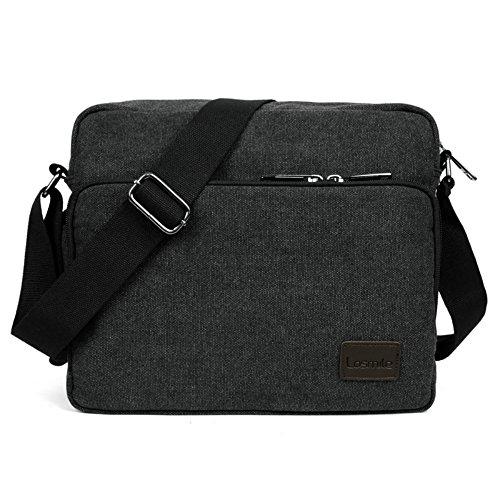 LOSMILE Umhängetasche, Mittel Schultertasche Messenger Bag, Unisex Casual Vintage Stoff Rucksack.11.8 inch * 3.9 inch * 10.2 inch.(schwarz)