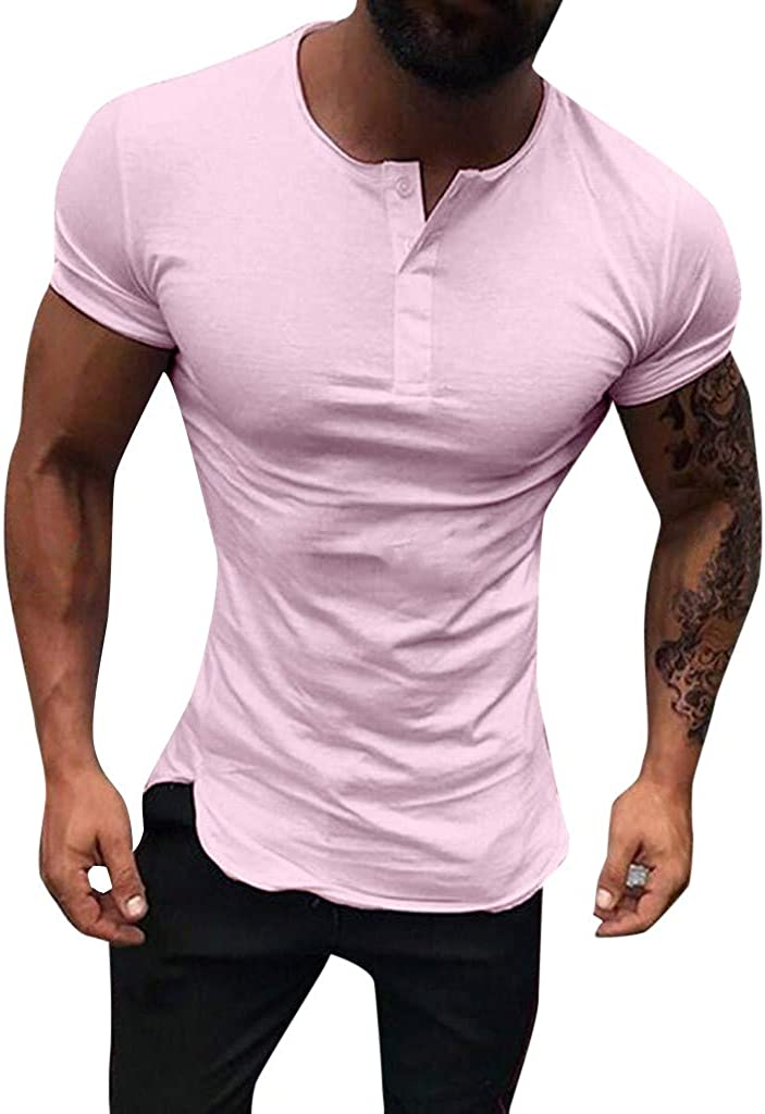 SPE969 Henry Polo Blouse Men's Short Sleeve Button Large Size Casual Tops Shirts Pink