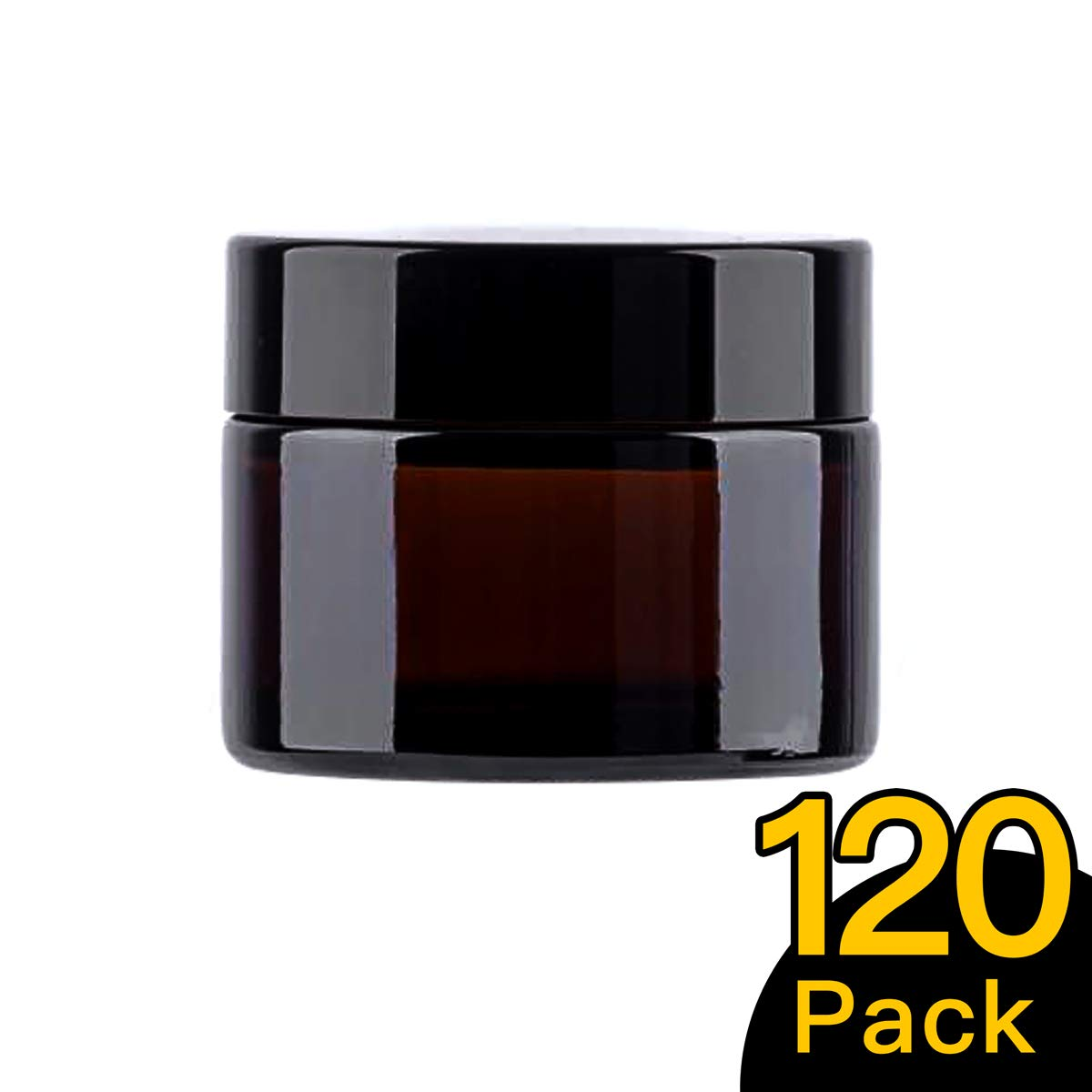 50ml / 1.7 oz, 120 Pack Snow Diamond Empty Amber Round Glass Jars, with White Inner Liners and black Lids, High End Glass Containers for Salve Cream, Premium Vials (50ml / 1.7 oz, 120 Pack)