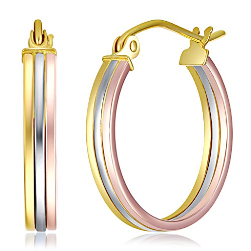 Wellingsale Ladies 14k Tri 3 Color Gold Polished Fancy Hoop Earrings (17mm - Tri Real Women