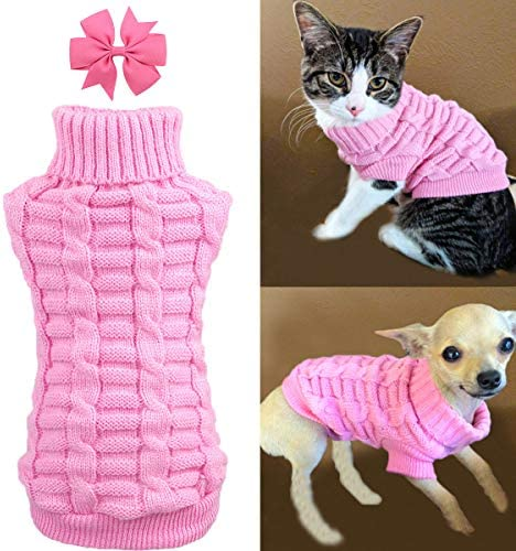 Aiwind Dog Cat Sweater Warm Braid Plait Turtleneck Knitwear Soft Fall Pullover Winter Pet Clothes for Dog Puppy Kitten Cat 17