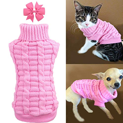 Dog Cat Sweater Warm Braid Plait Turtleneck Knitwear Soft Fall Pullover Winter Pet Clothes for Dog Puppy Kitten Cat (XS, Pink) ()