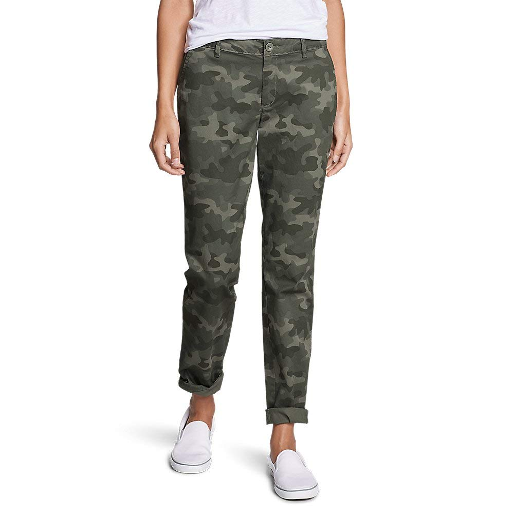 Eddie Bauer Women's Stretch Legend Wash Pants - Boyfriend, Camo Petite 2 by Eddie Bauer