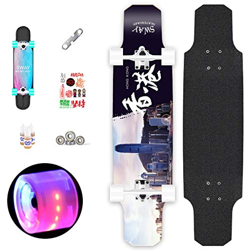 (31 inch Skateboard Complete Longboard Double Kick Skate Board Cruiser 7 Layer Maple Deck for Extreme Sports and Outdoors,9)