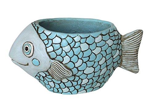 Allen Designs Resin Planters Allen Designs Blue Fish Indoor/Outdoor Planter 4.25 X 5 X 9.5 Inches Blue