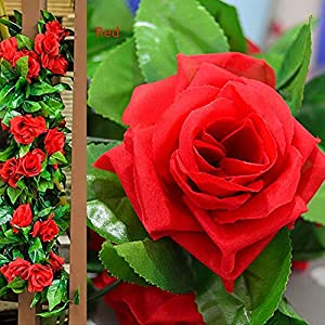 PRALB 2PCS Artificial Fake Silk Rose Flower Ivy Vine Hanging Garland Wedding Home Decor Pop for Office Arch Arrangement Decoration. (16 Red Roses Per Vine,2M) 14