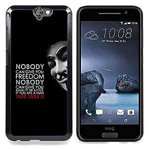 Qstar Arte & diseño plástico duro Fundas Cover Cubre Hard Case Cover para HTC One A9 (Liberté Egalité Justice Man Quote Masculine)
