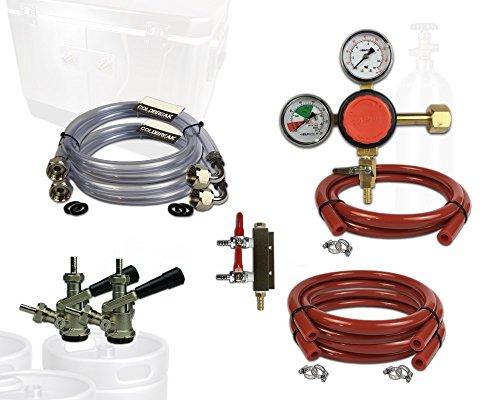 Coldbreak Jockey Box Dispensing Kit, 2 Tap, Includes CO2 Regulator, 4' Air Lines, Sankey 'D' Beer Couplers (SS Probe), 6' x 3/8