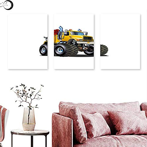 J Chief Sky Truck Wall Decoration Illustration of a Giant Wheeled Monster Truck Mechanic Beast Emergency Wall Painting Burgundy Yellow Black Triptych Art Canvas W 12