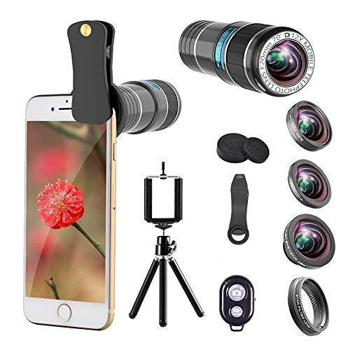 for iPhone Camera Lens, 12x Telephoto Lens + 0.65x Wide Angle & Macro Lenses + 180° Fisheye Lens + Star Filter Lens, Clip-On Lenses for iPhone 8 7 6s 6 Plus, Samsung Smartphones & Tablet
