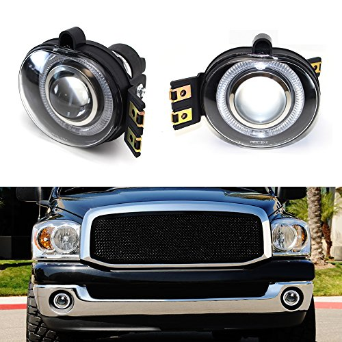 05 Projector Fog Lights - iJDMTOY (2) Projector Fog Lights w/ LED Halo Rings For 2002-2008 Dodge RAM 1500, 2003-2009 Dodge RAM 2500 3500 & 2004-2006 Dodge Durango