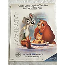 "LADY AND THE TRAMP - 22""x28"" Original DVD Movie Promo POSTER Disney 2018 Rare"