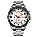 TYF Mens Stainless Steel Watch Big Face Unique Business Wrist Watch with Multi Dial Analog Quartz Watch