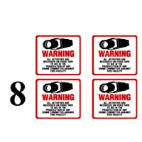 NEW! INSIDE MOUNT 8 Pack #204-IM Commercial Grade Outdoor / Indoor Security Surveillance CCTV Video Warning Decal - 4x 4