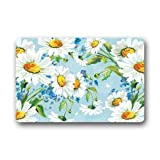Icndpshorts Top Fabric & Non-Slip Rubber Indoor/Outdoor Doormat Door Mats - Vintage Daisy Flower Art Pattern Floor Mat Rug for Home/Office/Bedroom