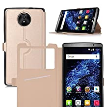 IVSO BLU STUDIO XL LTE Case - [View Window] [Stand View] [Full Range Protection] Ultra-thin Super Magic High Quality Folio Stand Case for BLU STUDIO XL LTE 6.0-inch Phone (Gold)